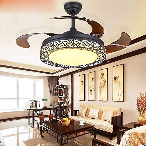 TFCFL 42 Inch LED Ceiling Fan Light with Remote Control 3 Colors Change Retractable Blades Chandelier Fan Light for Home Indoor with Bluetooth/without Bluetooth (Black)