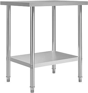 vidaXL Table de Travail de Cuisine Table de Travail de Restaurant Gastronomique Bar Buanderie Ecole Hôpital Garage 80x60x8...
