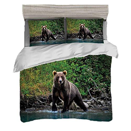 Juego de funda nórdica (220 x 240 cm) con 2 fundas de almohada Oso pardo pardo en el lago Alaska Imagen de la vida silvestre de la selva del bosque virgen decorativa Ropa de cama con impresión digital