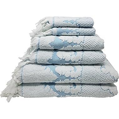 Nysa 100-Percent Genuine Turkish Cotton Floral Ornament Jacquard Hand-Knotted Fringe 6-Piece Towel Set - (Aquaris Blue)