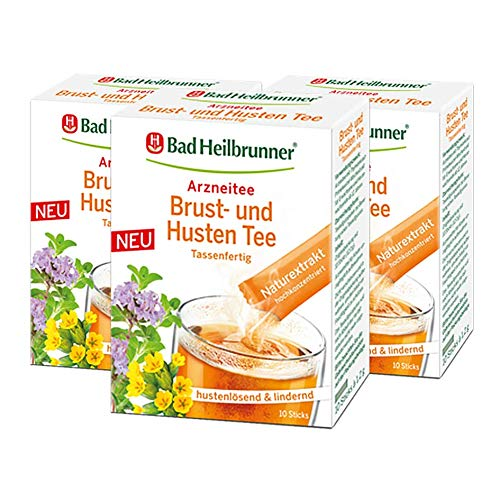 Bad Heilbrunner® Brust- und Husten Tee, 10 Sticks, 3er Pack