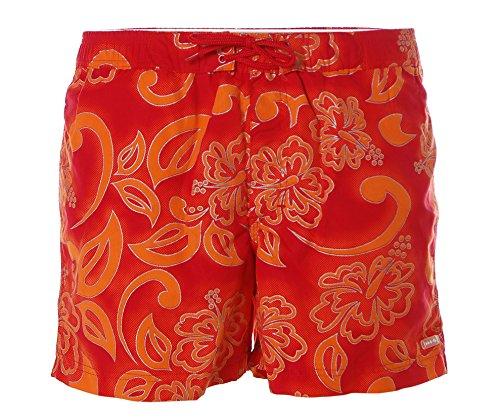 HIS Herren Badeshorts Boardshorts Hawaii Print Orange Rot S (4)