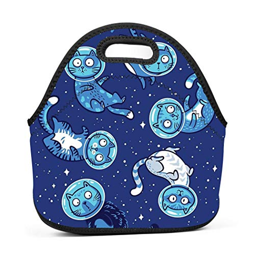 Galaxy cats Soft Neoprene Lunch Tote Bag-Lightweight, Insulated and Reusable,One Size for Kids Women