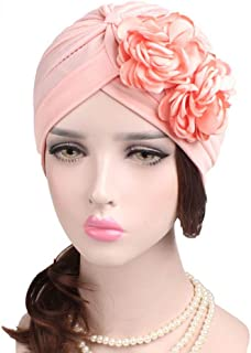 Fashian Lady Flower Muslim Turban Pleated Head Wrap Scarf Bandana Hat Pre Tied Headwear Cancer Chemo Cap WJ-28 (Color : 1, Size : One Size)
