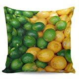 Fundas de almohada de 66 x 66 cm, diseño de granja de verano, verde limón, amarillo, verde, contraste, pintura al óleo, funda de cojín cuadrada para decoración del hogar