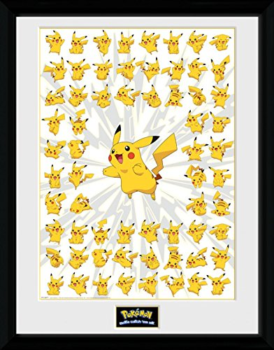 1art1 Pokemon - Pikachu Gerahmtes Bild Mit Edlem Passepartout | Wand-Bilder | Kunstdruck Poster Im Bilderrahmen 40 x 30 cm