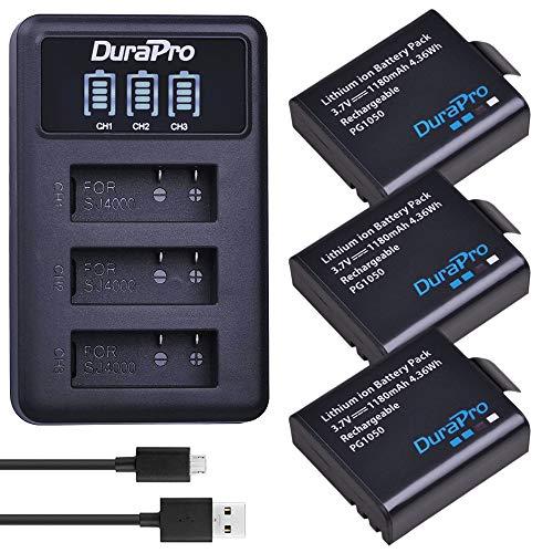 DuraPro 3Pcs PG1050 Battery + LED 3-Slots USB Charger for Crosstour SJCAM...