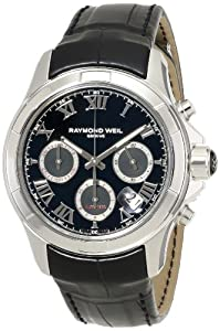 Raymond Weil Men's 7260-STC-00208 'Parsifal' Stainless Steel Watch with Black Leather Band image