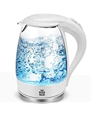 ForMe Glazen Waterkoker 1,7 Liter I Roestvrij Staal I 2200W Glas Theekoker I Kalkfilter I Blauwe Led Theeketel I 360 Graden Sokkel I Automatische Uitschakeling I Droogkookbeveiliging I BPA-Vrij