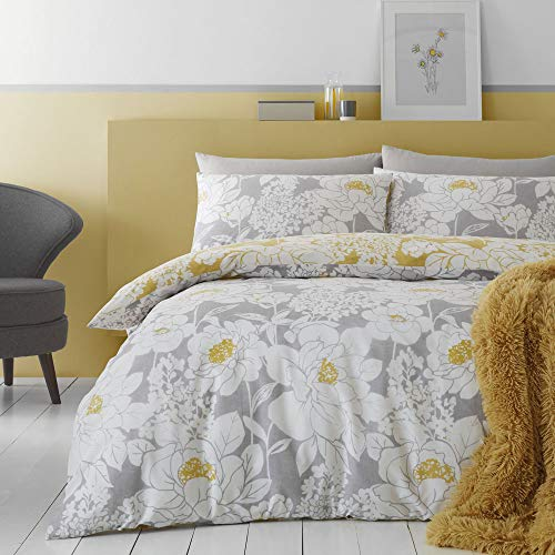Catherine Lansfield Saskia Floral Easy Care - Juego de Funda nórdica para Cama de Matrimonio, Color Ocre