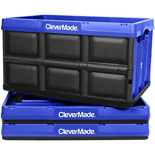 CleverMade 46L Collapsible Storage Bins - Durable Plastic Folding Utility Crates Solid Wall Stackable Containers for Home Garage Organization Royal Blue 3 Pack