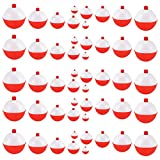 Coopay 30pcs-50pcs/lot Hard ABS Fishing Bobbers Set Snap on Red/White Float Bobbers Push Button Round Buoy Floats Fishing Tackle Accessories (0.5inch-50pcs)