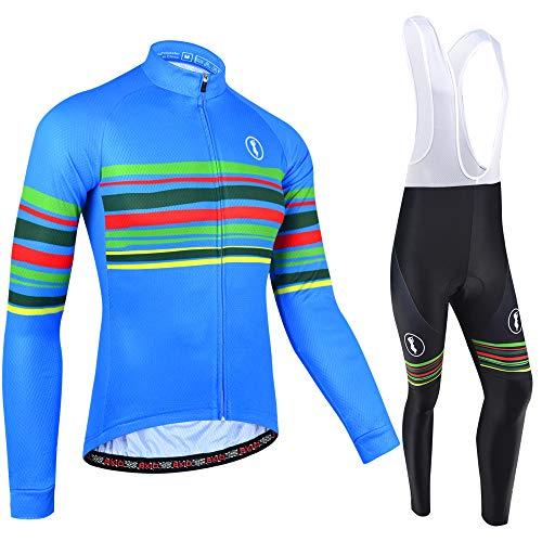 BXIO Maglia da Ciclismo Invernale Maniche Lunghe Abbigliamento da Bici Cerniera Completa Abbigliamento da Ciclismo Tute da Ciclismo PRO Team 151 (Winter(Blue,Bib Tights 151), M)