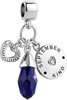 Heart Love Jan-Dec Simulated Birthstone Charm 12 Colors Birthday Beads Bracelets