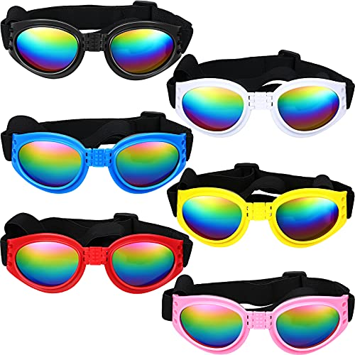 6 Pieces Pet Sunglasses Dog Goggles Foldable Dog Eye Protection Glasses Dog Sunglasses with Adjustable Straps Dog Eye Wear Waterproof Windproof Puppy Sunglasses for Dogs About Over 15 lbs, 6 Colors