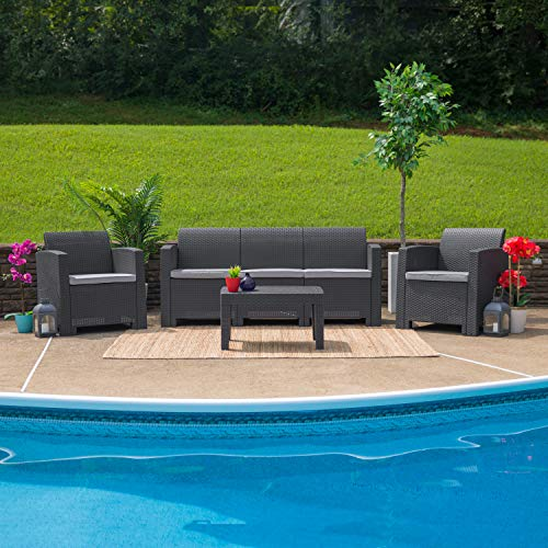 Flash Furniture Dark Gray Faux Rattan Sofa with All-Weather Light Gray Cushions