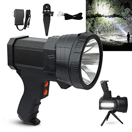 Rechargeable Spotlight Flashlight Super Bright 6000 Lumens LED Flashlight Handheld Spotlight Side Light 9600mAh Long Runtime Large Searchlight with Foldable Tripod for Camping Emergencies