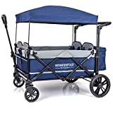 WONDERFOLD X4 4-Passenger Pull/Push Quad Stroller Wagon with Adjustable Handle Bar, Removable Canopy, Safety Seats with 5-Point Harness, One-Step Foot Brake (Navy)
