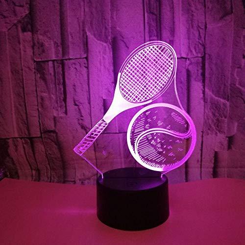 LED Raqueta de tenis 3D Luz de noche, Phantom Lámpara de mesa Cuatro modos y 16 colores Lámpara de decoración Cambio - perfectos para niño Regalo de Navidad Cumpleaños [Eficiencia energética A+]