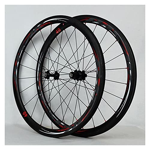 zyy Ruedas de Bicicleta de Carretera 700C de Bicicleta Llantas 50MM Juego de Ruedas C/V Juego de Ruedas de Bicicleta QR Teniendo 7 8 9 10 11 Velocidad (Color : Black)