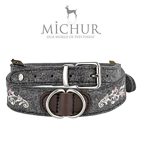 MICHUR Zenzi Weiss, Hundehalsband Filz, Art Leder, Hund Halsband Grau, Weiss mit Stickerei, in verschiedenen Größen erhältlich