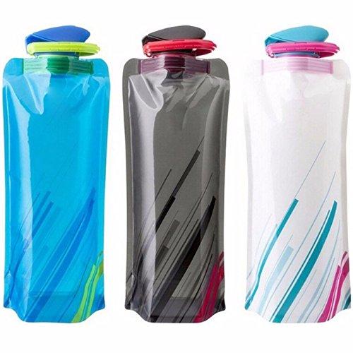 RLdaffodil 3 botellas de agua plegables y portátiles, para deportes al aire libre, viajes, bolsas de agua plegables con tapa a prueba de fugas, 700 ml