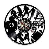 TPFEIVinyle Horloge Murale Équipe de Football Record de Vinyle Veilleuse Horloge Rugby Sportifs Art Mural Jeu de décoration Joueur Sport Garçons Cadeau @ No_LED