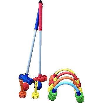 Forevive Children's Croquet Set Upgraded version Elastic Sponge Double Croquet Set Indoor and Outdoor Children's Training Rubber Foam Toy Suitable for Lawn, Backyard, Park, Etc