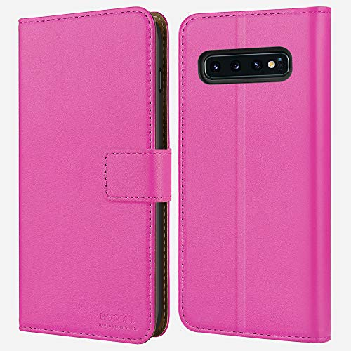 HOOMIL Samsung S10, Galaxy S10 Wallet Case Premium Leather Folio Case, Flip Book Style Wallet Cover with TPU Shockproof, Stand, Card Slots and Cash Pocket for Samsung Galaxy S10 (Pink)