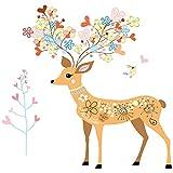 Pegatinas decorativas pared infantil. Ciervo con astas de colores de flores y corazones y un pájaro. Vinilo de pared...