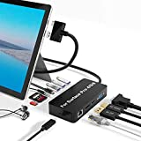 Surface Pro Docking Station for Surface Pro 4/5/6 Hub Dock with HDMI, VGA, DP, RJ-45 Gigabit Ethernet Port, 3X USB 3.0 Ports, USB C Sync Port, Audio Out Port, SD/TF Card Reader, Micro USB Port
