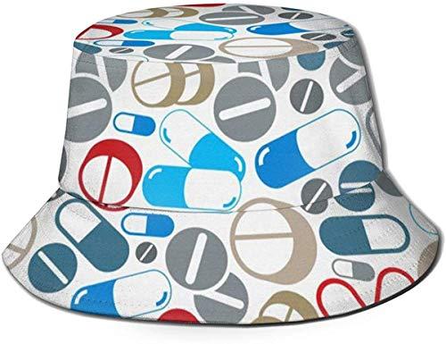 ZharkLI Hut Pillen Muster Sonne Fischerhut Outdoor Hut UV Sonnenschutz Hut Faltbar Leicht Atmungsaktiv Reise Cap Schwarz