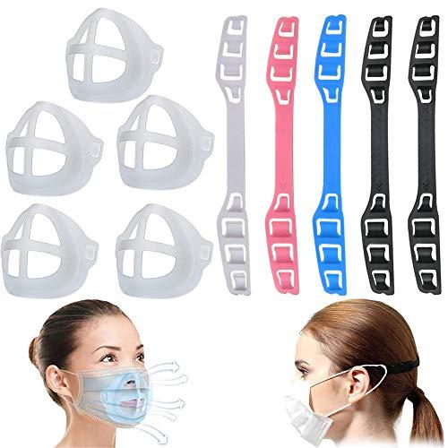 Soporte 3D para uso cómodo de máscara, con gancho de hebilla de extensión Face Corver, marco de soporte interno de silicona para la cara para protector de lápiz labial, boca, nariz (10 piezas)