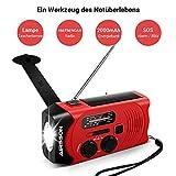 Outdoor Solar Radio, Multifunktion Tragbares Outdoor Radio Kurbelradio für Notfälle,mit AM/FM Wetter Radio, mit LED Taschenlampe/mit 2000mAh Eingebaute Batterie Power Bank, Notfall SOS Alarm - 2