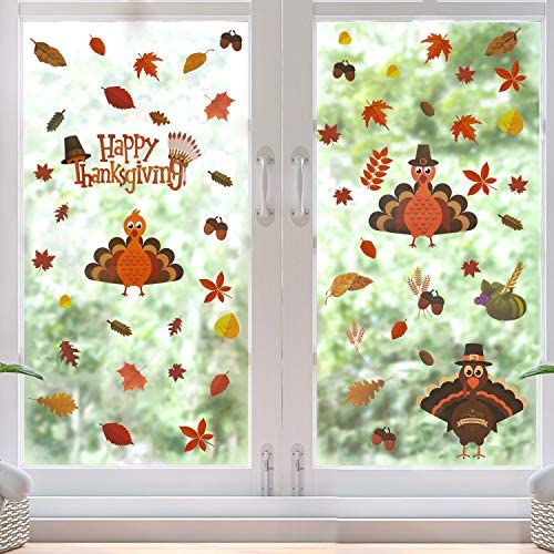 FORUP Thanksgiving Decorations Window Clings Decor Extra Large Autumn Fall Leaves Turkey Pumpkin product image