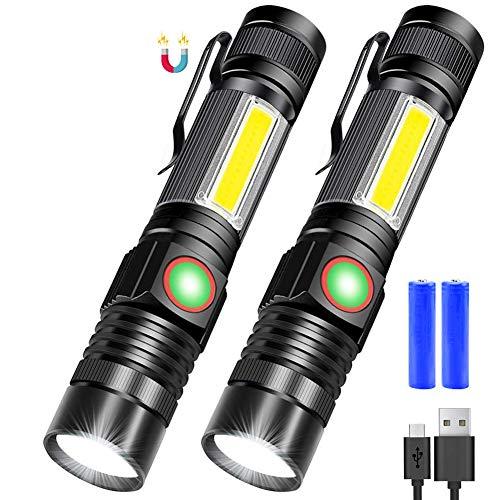 LINGSFIRE Linterna LED, 2 Pack Linternas LED Recargables, 4 Modos Ajustable Portátil COB Linterna para Reparación del Coche, y Emergencia, Camping, Montañismo (Con USB 18650 Batería & Base Magnético)