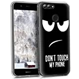 kwmobile Hülle kompatibel mit Huawei Nova 2 - Handyhülle Silikon Hülle - Don't Touch My Phone Weiß Schwarz