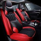 Funda para Asiento de Coche Juego Completo Fundas Protectoras de Asiento de Cuero PU Impermeables Universal para Audi A3 / a4 / a5 / a6 / A8 / q3 / q5 / RS4 (Color: Rojo + Negro)