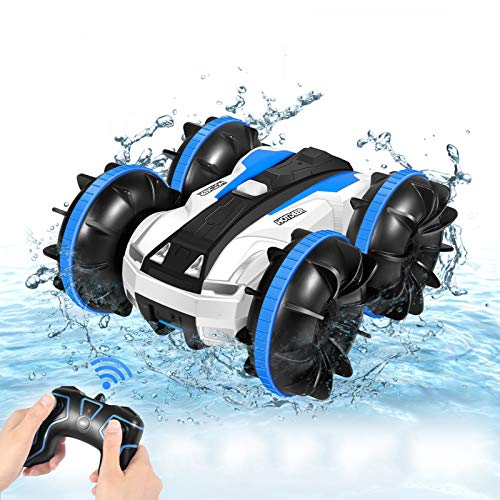 Remote Control Car, Amphibious 4WD 2.4Ghz RC Cars Stunt Car Toy Double Sided 360° Rotating RC Cars with Headlights, Kids Xmas Toy Cars Boats for Boys & Girls (1/20 Scale)
