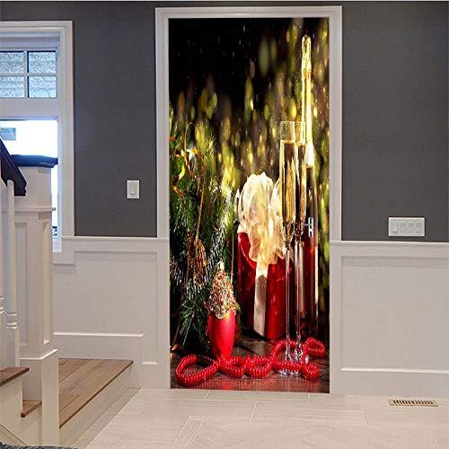 3D Deur Art, Zelfklevende Deur Muur, Deur Sticker Kerst bekers Creatieve Deur Sticker 95cm*215cm A