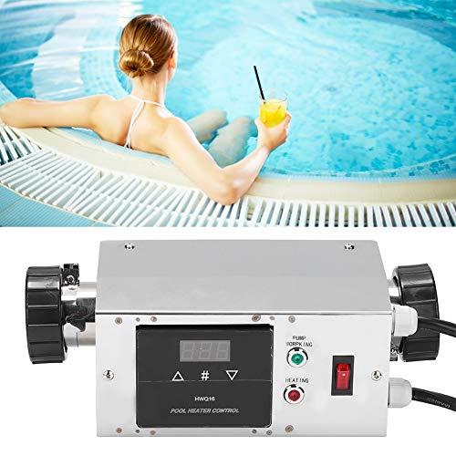Jimfoty Poolheizung, elektrische Poolheizung 2KW wasserdichte Poolheizung Temperaturregler Digitaler Thermostat für SPA Badewanne Schwimmbad (EU 220V)(220V)