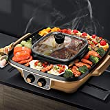 LOVE-HOME Indoor Grill Hot Pot Chafing Dish, Tischelektrogrill Multi-Purpose Smokeless Indoor Grill Tragbarer Elektrogrill