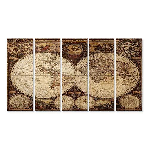islandburner Cuadro Cuadros Impresión sobre Lienzo - Formato Grande - Cuadros Modernos Antiguo Mapa del Mundo de la Vendimia planisferio