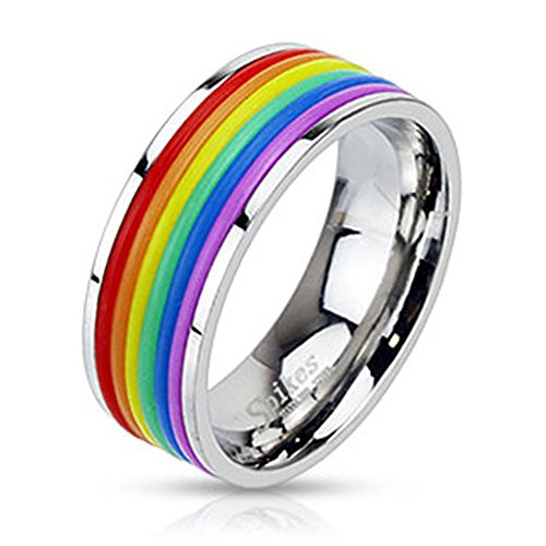 Jinique STR-0041 Stainless Steel Rainbow Rubber Striped Band Ring; Comes Box (8)