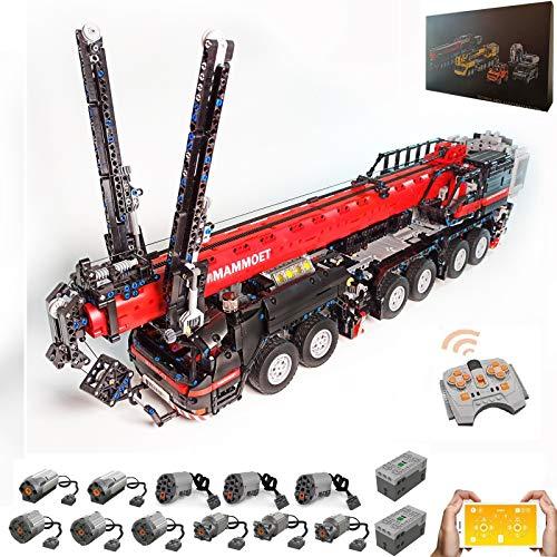 PEXL Technik Mobiler Schwerlastkran Modell, Technic Ferngesteuert Kran LKW mit 11 Motoren, 4325 Klemmbausteine Kompatibel mit Lego Technik