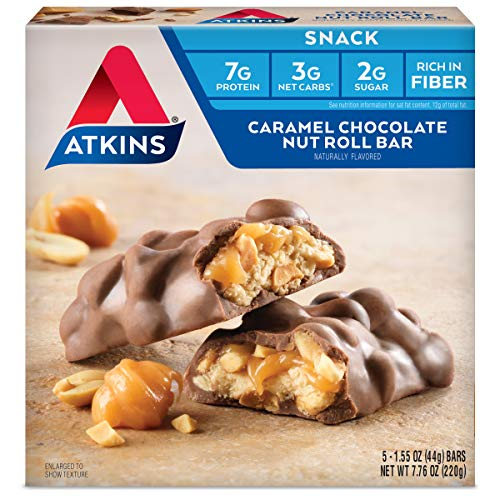 Atkins Snack Bar, Caramel Chocolate Nut Roll, Keto Friendly (5 Count of 1.55oz Bars), 7.76 Ounce
