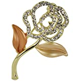 Rose Stem Crystal Diamante Brooch Pin - Gold