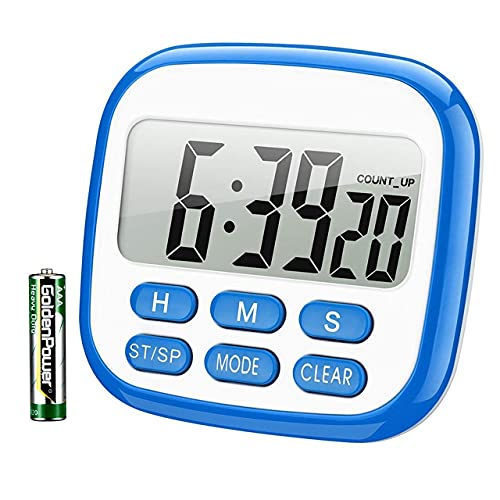 Kitchen Timers for Cooking, 12-Hours Digital Timer for Kids, Egg Timer, Stopwatch Clock Timer with Loud Alarm & Strong Magnet, Memory Function Count Up & Count Down for Kids Teachers Cooking (Blue)