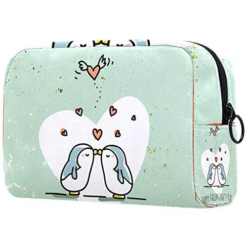 Bolsa de cosméticos para mujer, Día de San Valentín, lindos pingüinos pareja corazón amor, bolsas de maquillaje accesorios organizador regalos