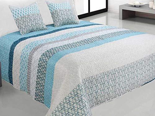 Zweiseitige Tagesdecke Bettüberwurf 3 Tlg. 180x220 cm+ 2 Kissenbezüge Tavira Türkis Blau Weiß Grau- J-001
